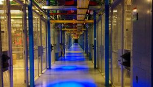 A corridor inside an Equinix low-latency colocation facility in Secaucus, N.J. (Photo: Rich Miller)