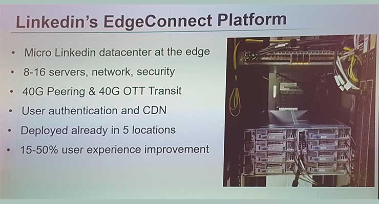 A slide from Yuval Bachar's presentation providing an overview of LinkedIn's Edge Connect edge data center prototypes. (Image: LinkedIn)