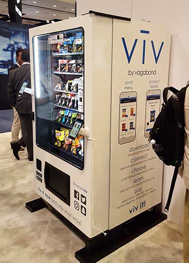 Viv is a connected vending machine , a showcase for Vagabond's mobile payments platform. Consumers can use their smartphones to pay for purchases. (Photo: Rich Miller)