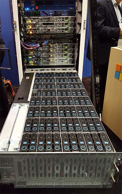 Video requires lots of data storage. This Microsoft storage unit has 96 bays for hard disk drives in a JBOD (Just A Bunch of Disks) configuration. It can use 14TB drives for a max capacity of 1.2 petabytes in a 4U chassis. (Photo: Rich Miller)