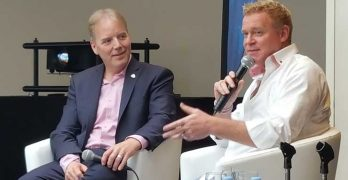 Infrastructure Masons founder Dean Nelson interviews entrepreneur and philanthropist Michael Tobin (right) during the group's recent meeting in Monaco. (Photo: Rich Miller)