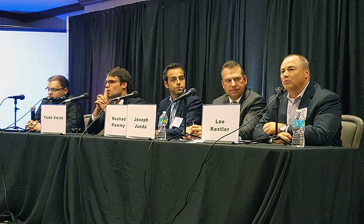 A panel at a recent CAPRE Data Center Summit event. At right is Lee Kestler or Vantage Data Centers. (Photo: Rich Miller)