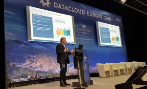 Phill Lawson-Shanks of EdgeConnex presents during the Edge session at Datacloud Europe 2018. (Photo: Rich Miller)