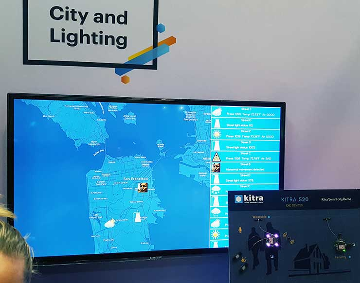 Kitra RushUp is an Internet of Things platform based on Samsung's ARTIK technology that uses sensors to manage lighting and security and provide data on weather and environmental emissions. (Photo: Rich Miller)