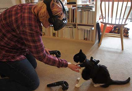 A cat is outfitted with an HTC Vive Tracker that allows virtual reality gamers to sense the presence of the cat while they are playing, creating a safer environment for both gamers and pets. (Photo: Triangular Pixels)
