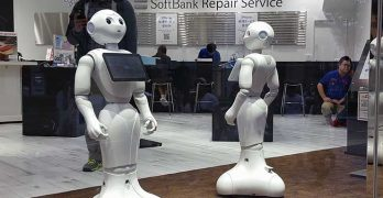 "Lifelike robots, like these ""Pepper"" units at a Softbank store in Tokyo, are just on example of the many visions for the use of cognitive technology in the connected future. (Photo: Rich Miller)"