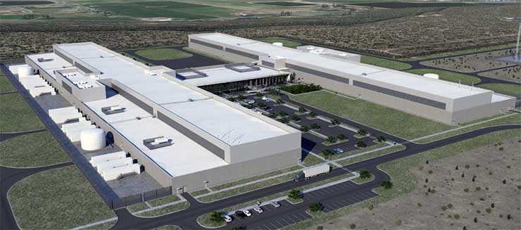 An illustration of the two newest data center buildings at the Facebook campus in Prineville, Oregon. (Image: Facebook)