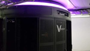 A Vapor Chamber rack enclosure inside a Crown Castle shelter in Chicago. (Photo: Vapor IO)