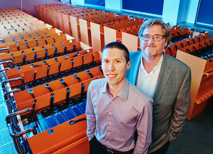 DownUnder GeoSolutions CTO Phil Schwan (left) and co-founder Dr. Matt Lamont in the company's data center in Perth, Australia. (Photo: DownUnder GeoSolutions)