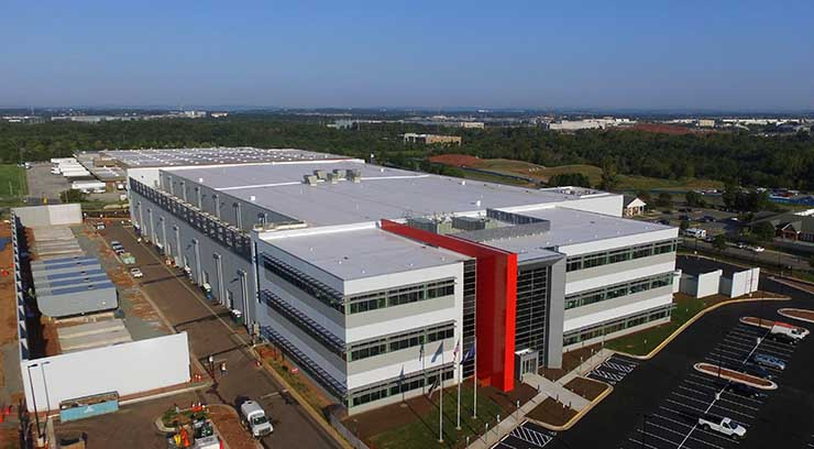 An aerial view of the completed QTS Ashburn data center in September, 2018. (Photo: QTS Data Centers)