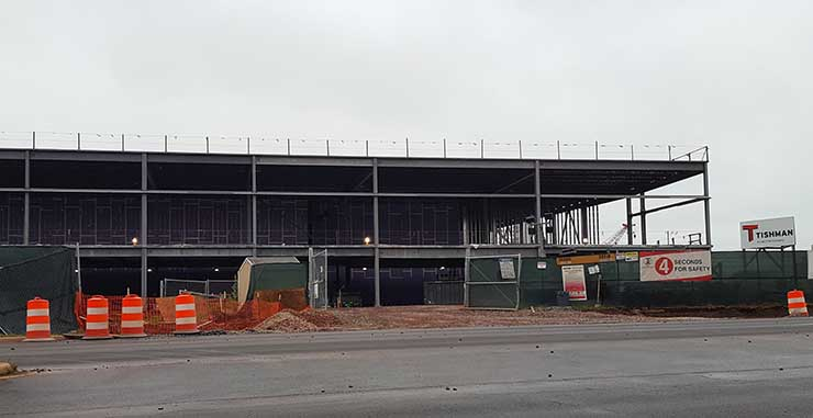 The superstructure for the first building on Vantage Data Centers' Ashburn campus, seen during a visit in October. The $1 billion campus will support five huge data centers. (Photo: Rich Miller)