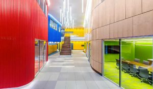 The colorful atrium of the RagingWire VA3 data center in Ashburn, Virginia. (Photo: RagingWire)