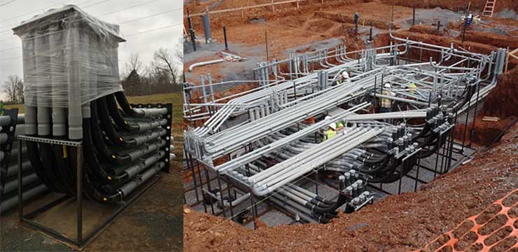 Pre-fabricated modular duct banks, like those shown above, can help shorten construction timelines on data center projects. (Photos: M.C. Dean)