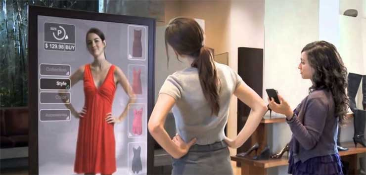An example of virtual fitting room, a retail implementation of augmented reality to enhance in-store experiences. (Image: Shopify)