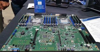 There was lots of new hardware options this year, prompted by growth in AI and IoT demand. Cavium displayed its Thunder X2 dual socket ARM server at the Open Compute Summit in Santa Clara. (Photo: Rich Miller)