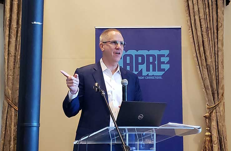 Allen Tucker of Jones Lang LaSalle gives the keynote presentation at the CAPRE 2019 Data Center Forecast East held Jan. 31 in Ashburn, Va. (Photo: Rich Miller)