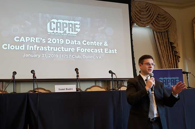 Analyst Sami Badri of Credit Suisse described how the development of 5G wireless services may impact data center growth in 2019 and 2020. (Photo: Rich Miller)