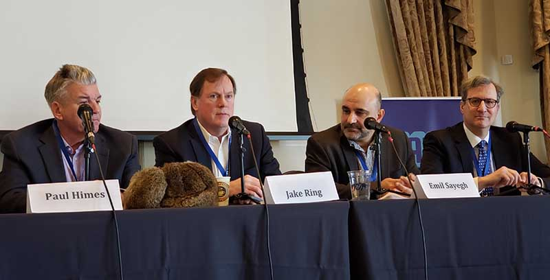 One of the panels at the CAPRE Forecast event featured (from left) Paul Himes of Himes Associates, GIGA Data Centers CEO Jake Ring, Hostway CEO Emil Sayegh, and Jeffrey Moerdler of Mintz Levin. (Photo: Rich Miller)