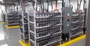 A battery room inside a data center campus in Richmond, Va. These batteries provide temporary emergency power for UPS systems. (Photo: Rich Miller)