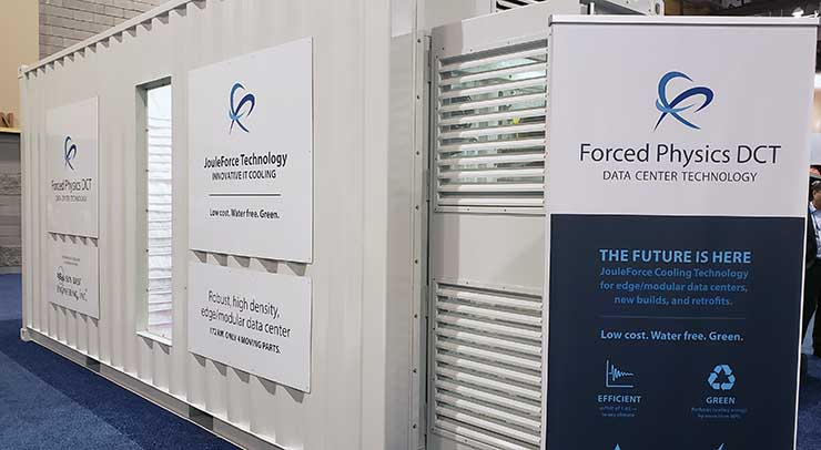 The Forced Physics DCT data center module on display at Data Center World in Phoenix. (Photo: Rich Miller)