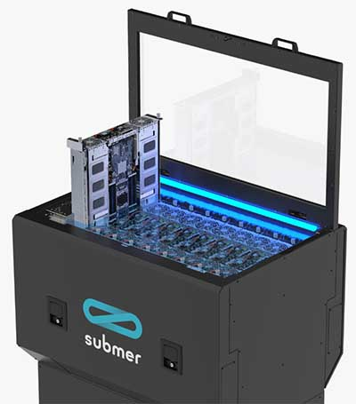 A Submer SmartPodX enclosure, demonstrating how servers are housed and installed. (Image: Submer Immersion Cooling)