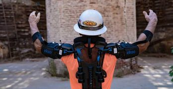 An example of the EksoVest, a robotic exoskeleton for construction and factory workers. (Photo: Ekso Bionics)