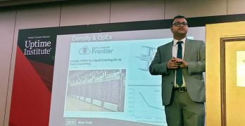 Suvojit Ghosh, Managing Director of the Computing Infrastructure Research Center in Toronto, discusses the future of data center design at DCD Enterprise New York on Wednesday. (Photo: Rich Miller)