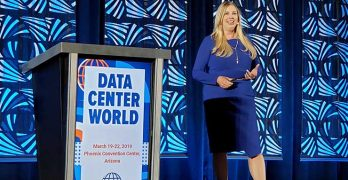 Dr. Julie Albright during her keynote presentation at the Data Center World 2019 conference in Phoenix. (Photo: Rich Miller)