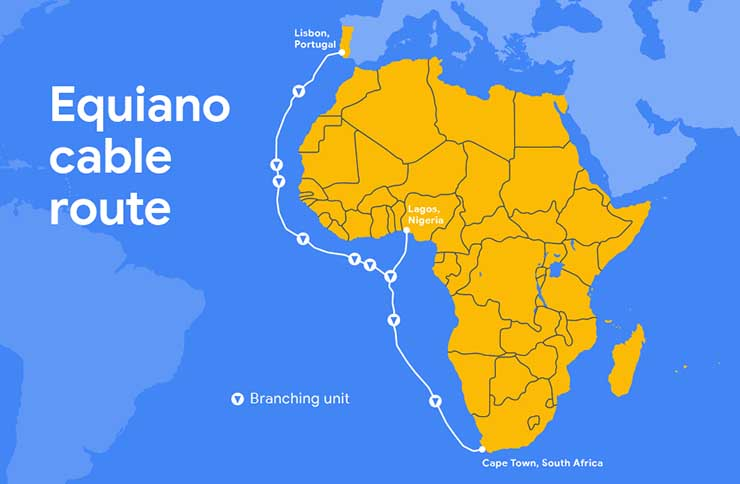 The route of Google's new Equiano subsea cable connecting Europe and Africa.. (Image: Google)