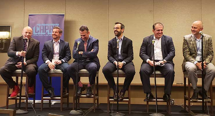 The invetstment panel at the CAPRE Greater New York Data Center Summit featured (from left) Brian Doricko of CyrusOne, Goldman Sachs' Jeff Ferry, Joseph Junda from ING, Boundary Street Capital's Rashad Kawmy, Richard Lukaj of BankStreet, and John Regan with Landmark Dividend. (Photo: Rich Miller)