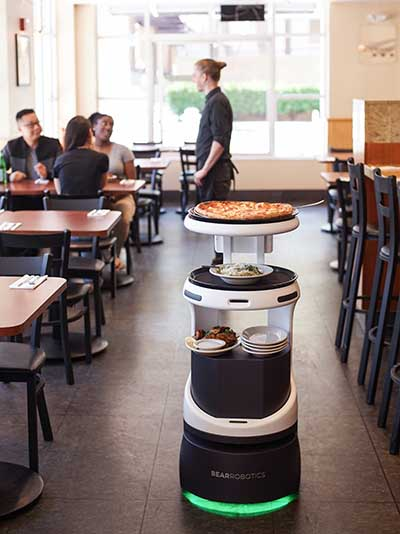 Penny is a robot server created by Bear Robotics that can assist human servers, using sensors to navigate crowded restaurants. The intent is to allow wait staff to focus on customer service rather than shuttling food. (Image: Bear Robotics)