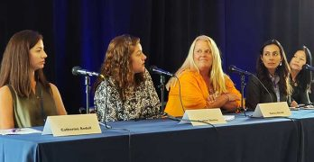 Participating in a panel at the Women of Mission Critical conference were (from left) : Catherine Bedell of Vapor IO, Google's Heather Dooley, Nancy Novak of Compass Datacenters, Krystyna Witt of Evoque Data Centers, and Jenny Zhan from EdgeConneX. (Photo: Rich Miller)