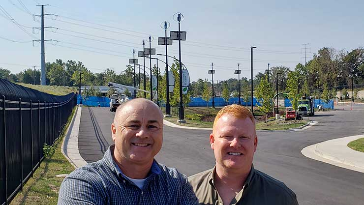 Vantage Data Centers' Chief Commercial Offier Lee Kestler (left) and VP of Marketing Mark Freeman (right) at the company's new VA11 data center in Ashburn, Virginia. (Photo: Rich Miller)