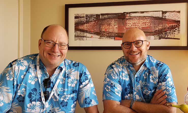EdgeConneX CEO Randy Brouckman (left) and Chief Marketing Officer Phillip Marangella at the recent PTC20 conference in Honolulu. (Photo: Rich Miller)