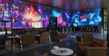 The walls of the Netflix headquarters building in Hollywood feature an immersive 80-foot, long video wall. (Photo: Netflix)