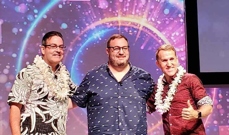 Netflix VP of Networks Dave Temkin (center) at the recent PTC20 conference, with fellow panelists Joe Weinman (left) and James Staten of Forrester Research. (Photo: Rich Miller)
