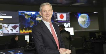 Akamai CEO Tom Leighton in the company's network operations center in Cambridge, Mass. (Photo: Akamai)