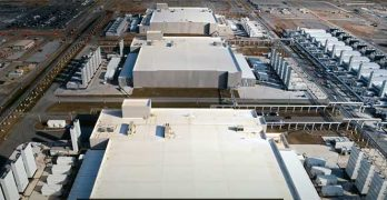 An overhead view of data center buildings on a Google campus. (Image: Google)