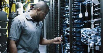 A technician works inside the Digital Realty data center inside 60 Hudson Street in New York City, a key aggregation point for global data traffic. (Photo: Digital Realty)