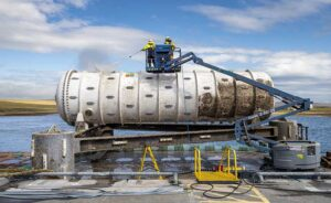 The Project Natick data center module was recently retrieved from the ocean floor near Scotland. (Photo: Microsoft)