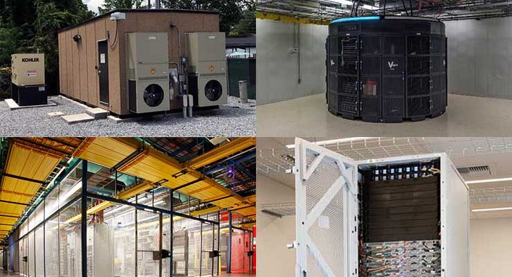 Edge computing deals and deployments span the range of digital infrastructure, from racks and modules to data center halls. (Images: American Tower, Vapor IO, Equinix and Amazon)