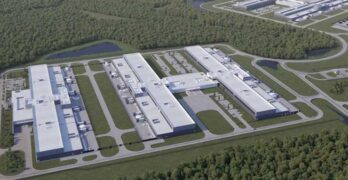 An illustration of Facebook's expansion of its Newton County, Georgia data center campus, which will add three massive data center buildings. (Image: Facebook)