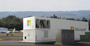 The new Microsoft Azure Modular Data Center (MDC), which includes satellite connectivity. (Photo: Microsoft)