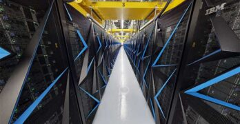 Inside the aisles of the Summit supercomputer. (Image: Oak Ridge National Labs)