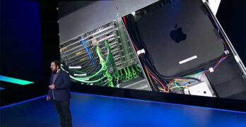 Amazon Senior VP of Infrastructure Peter DeSantis shares an image of a Mac Mini server running within an AWS data center during this week's re;Invent 2020 conference. (Image: AWS)