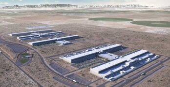 An illustration of Facebook's plans for its expanded data center campus in Utah, which now spans five data center structures. (Image: Facebook)