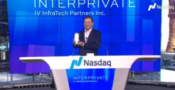 Kevin Timmons, the CEO of InterPrivate IV InfraTech Partners, celebrates the company's IPO last week on the NASDAQ Exchange. (Image: NASDAQ)