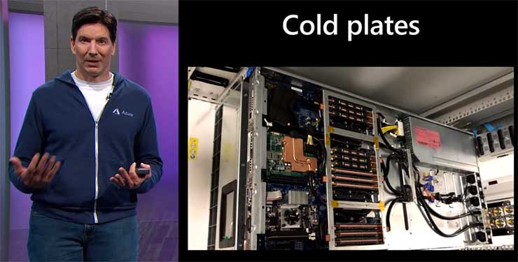 Microsoft Azure CTO Mark Russinovich shares a cold plate cooling design he used in a gaming system to text advanced cooling designs. Nice rig, but needs more colored lights. (Image: Microsoft)