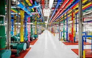 The cooling water supply system in a Google data center in Atlanta, which is one of the company's sites using recycled water to reduce its impact on the local water supply. (Image: Google)