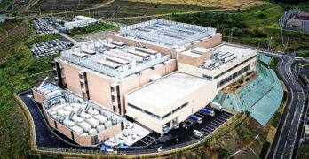 An aerial view of a an MC Digital Realty data center in Osaka, Japan that was built through a joint venture with Mitsubishi. (Image: MC Digital Realty)